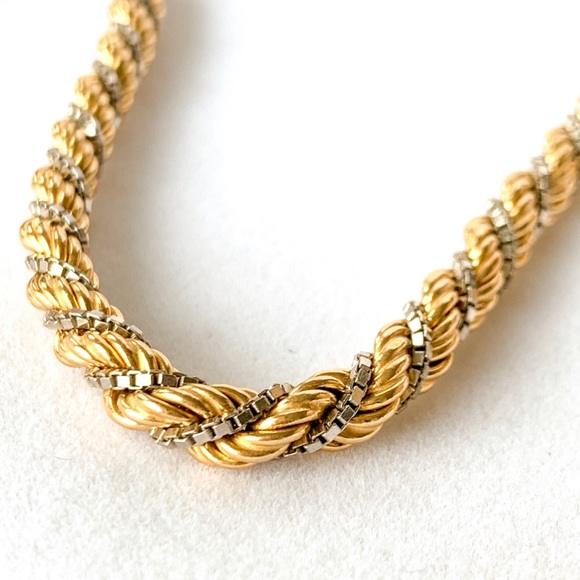Moda Jewels Other - 18k Solid 2 Tone White/Yellow Gold Rope Box Chain